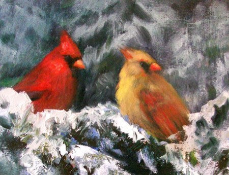 Winter Cardinals - Blank Art Note Card