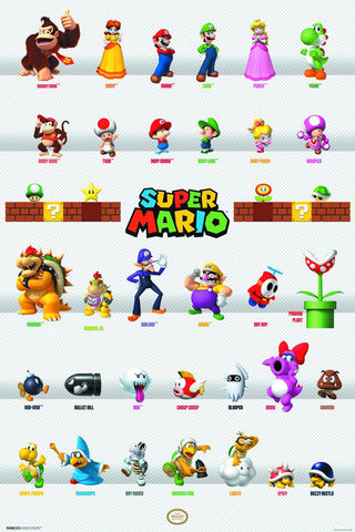 Super Mario Bros - Mario Characters Poster - Cyber City Comix