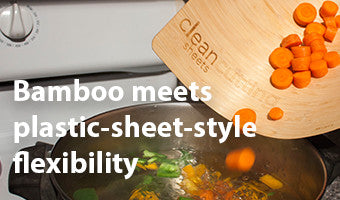 A renewable bamboo cutting sheet with the flexibility of a plastic sheet.