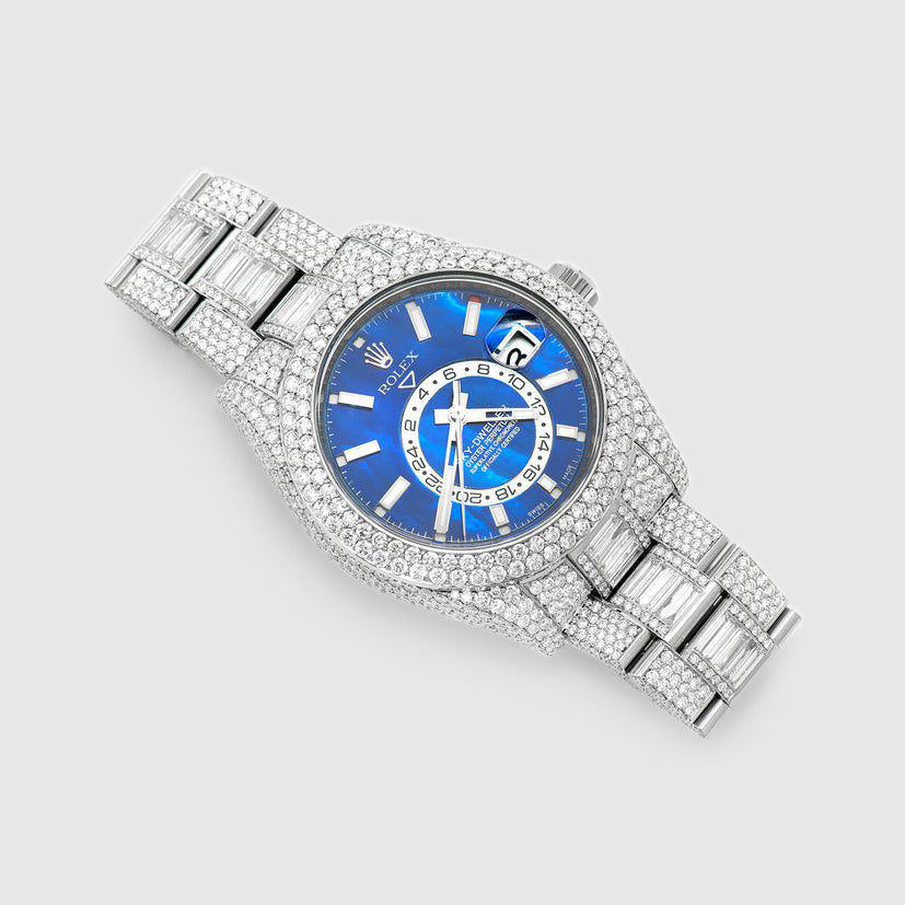 Diamond Rolex Sky-Dweller 42mm Stainless Steel Blue Dial Watch