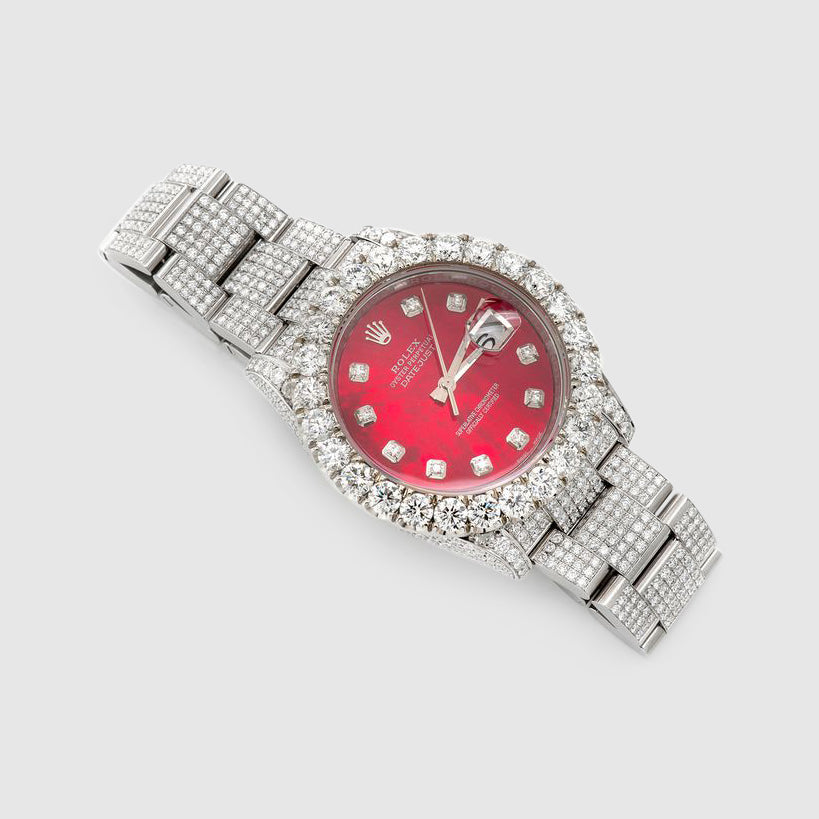 Diamond Rolex DateJust 36mm Stainless Steel Red Dial Watch