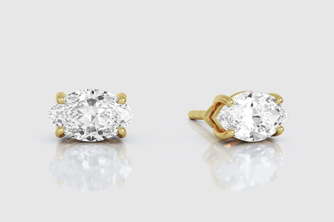 14k or 18k Yellow Gold Marquise Diamond Stud Earrings
