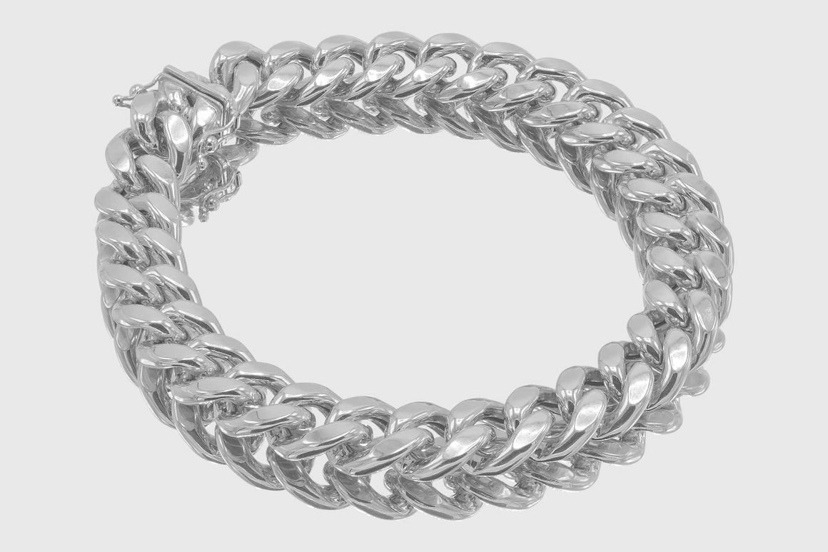12mm 10K Miami Cuban White Gold Bracelet