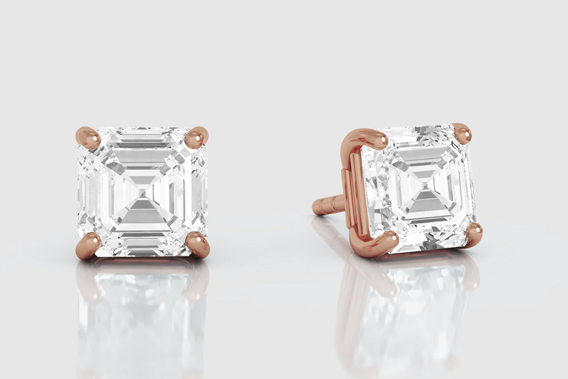 14k or 18k Yellow Gold Asscher Cut Diamond Stud Earrings