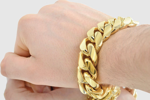 20mm Thick Miami Cuban Solid Gold Bracelet