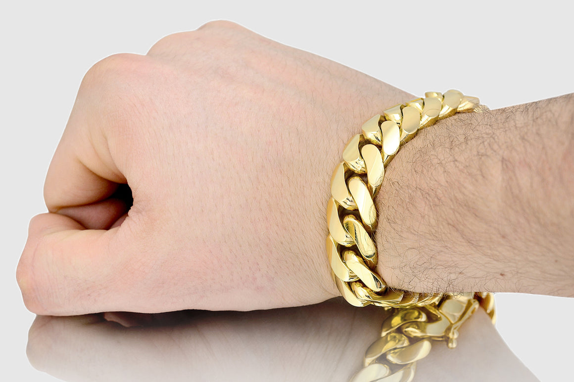 17mm Miami Cuban Bracelet Solid Yellow Gold