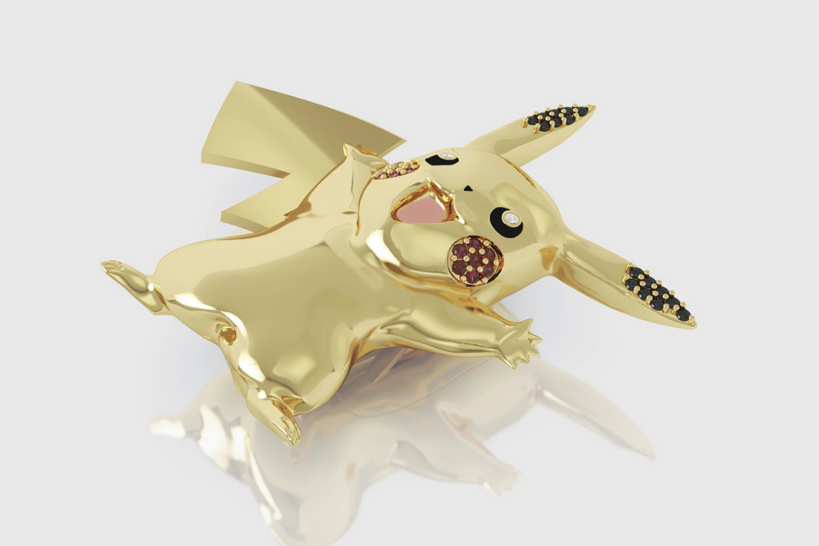 Pikachu Pendant 14K Yellow Gold
