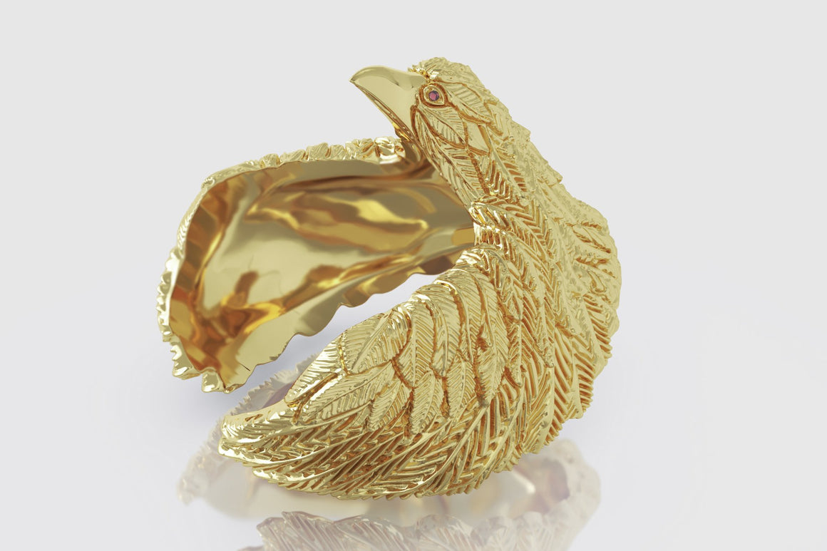Yellow Gold Eagle Ruby Ring | Uverly
