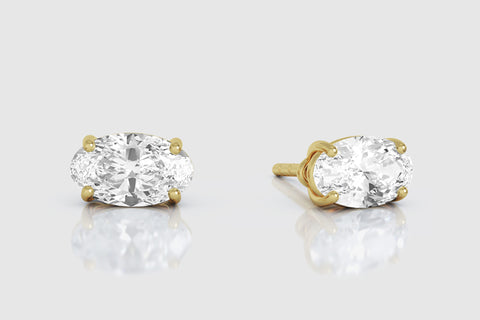 14k or 18k Yellow Gold Oval Diamond Stud Earrings