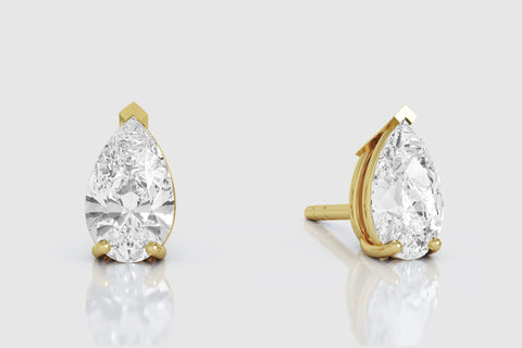 14k or 18k Yellow Gold Pear Shaped Diamond Stud Earrings