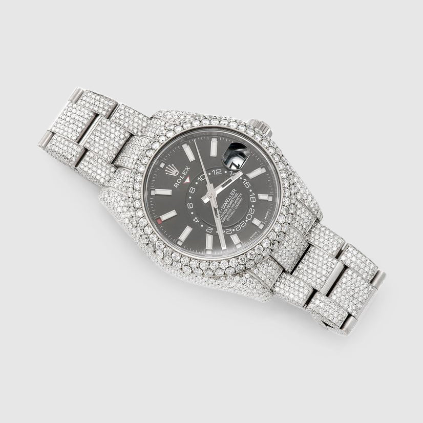 Diamond Rolex Sky-Dweller 42mm Stainless Steel Black Dial Watch
