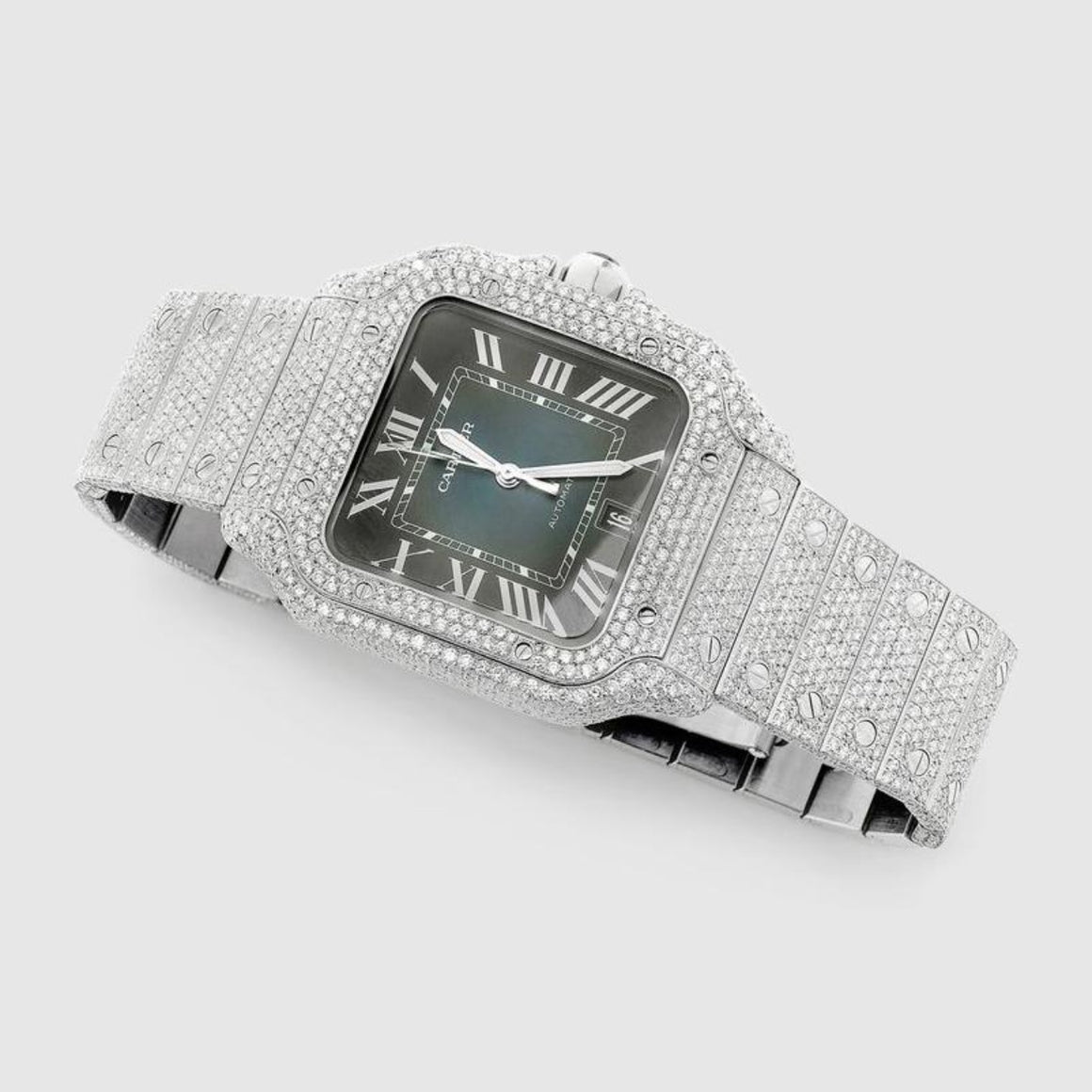Iced Out Cartier Santos 40mm Stainless Steel Blue Dial Watch