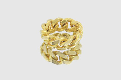 Miami Cuban Yellow Gold Ring.