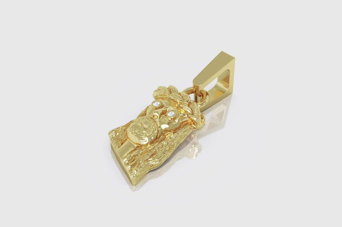 Mini Jesus Diamond Pendant 14K Yellow Gold