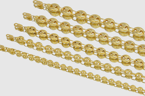 14k Gucci Mariner Style Puffed Yellow Gold Necklace