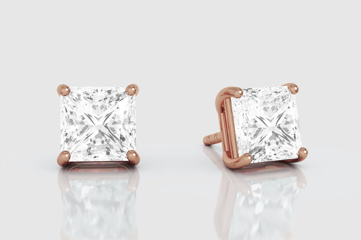 14k or 18k Yellow Gold Princess Cut Diamond Stud Earrings