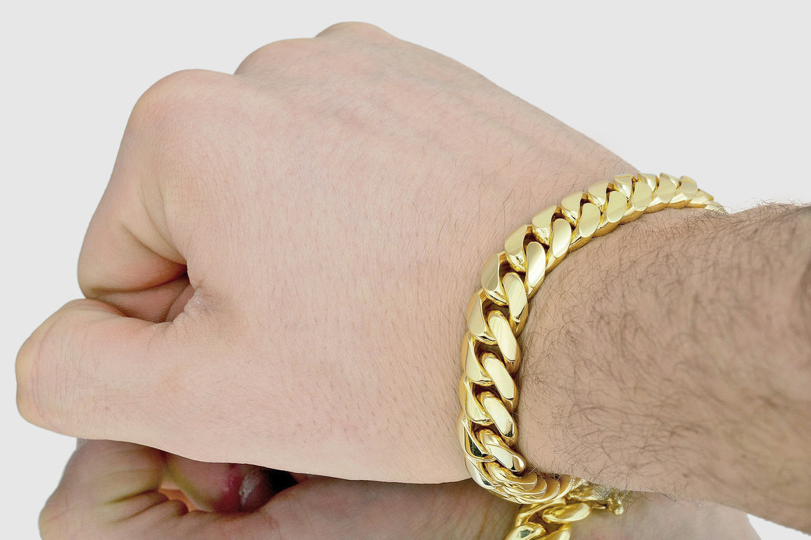 12mm Miami Cuban Bracelet Solid Yellow Gold