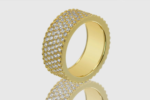 5-Row Yellow Gold Diamond Ring