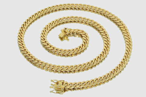 7mm Miami Cuban Solid Gold Necklace