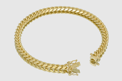 6mm Thick Miami Cuban Solid Gold Bracelet