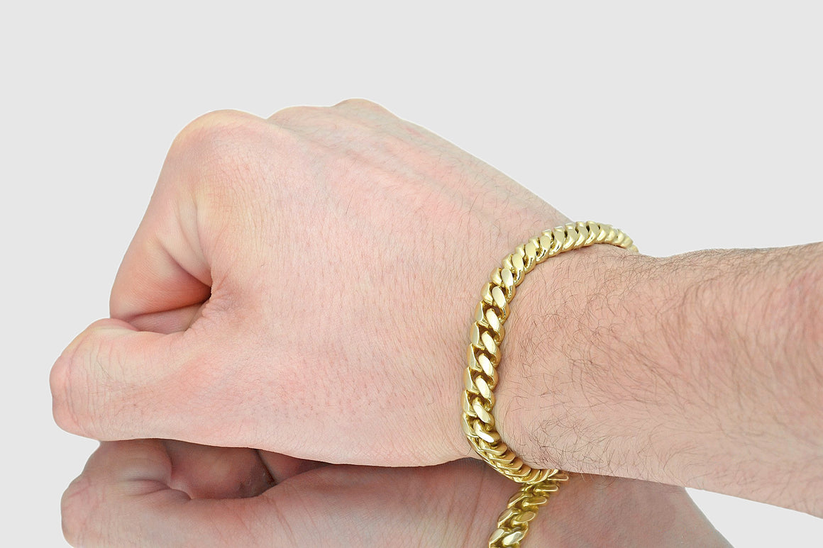 9mm Miami Cuban Bracelet 14K Solid Yellow Gold