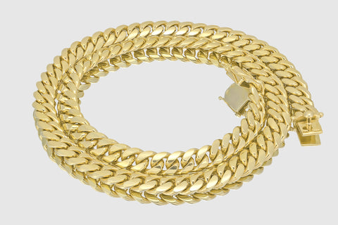 12mm Miami Cuban Solid Gold Necklace