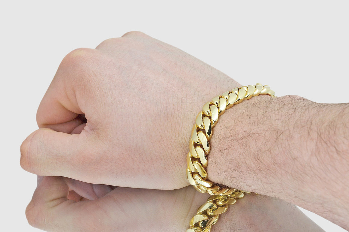 13mm Miami Cuban Bracelet Solid Yellow Gold