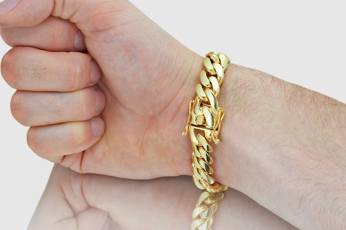 15mm Miami Cuban Bracelet Solid Yellow Gold