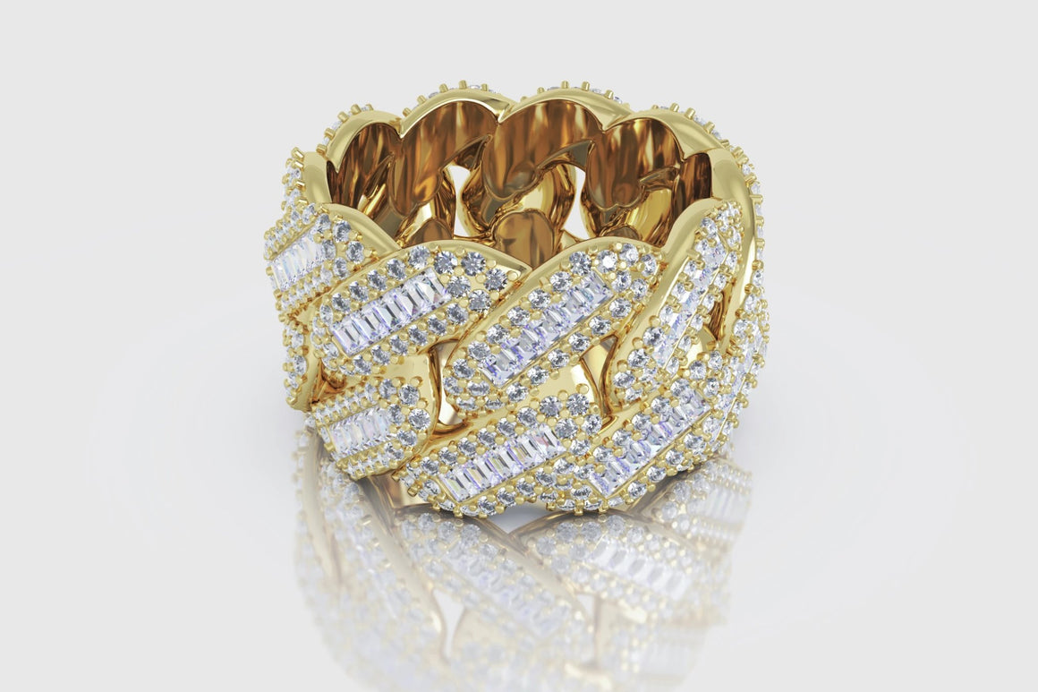 Miami Cuban Prong Baguette Ring Yellow Gold