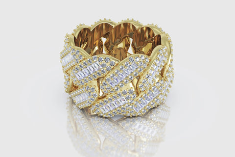 Miami Cuban Gold and Diamond Prong Baguette Ring