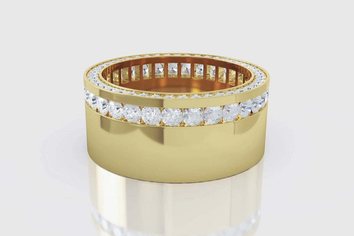 Channel Set Diamond Ring 18K Yellow Gold