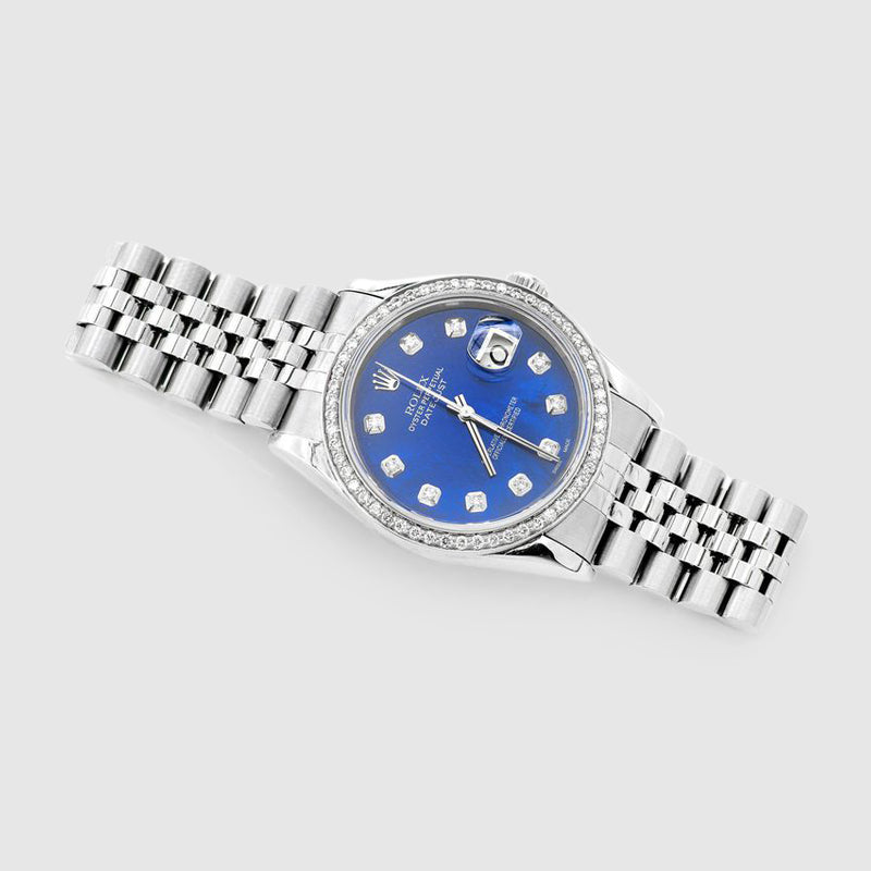 Diamond Rolex DateJust 36mm Stainless Steel Blue Dial