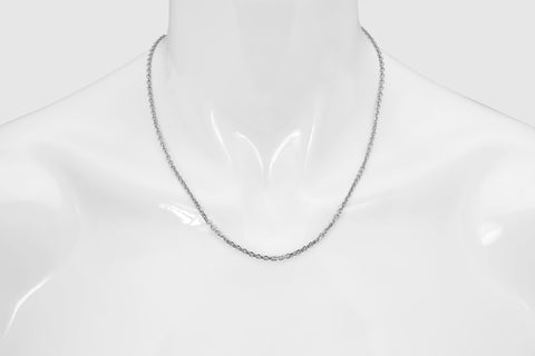 14k Cable Link Solid White Gold Necklace