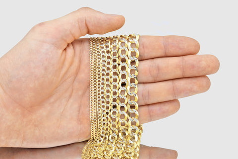 14k White Pave Two Tone Cuban Curb Solid Yellow Gold Necklace