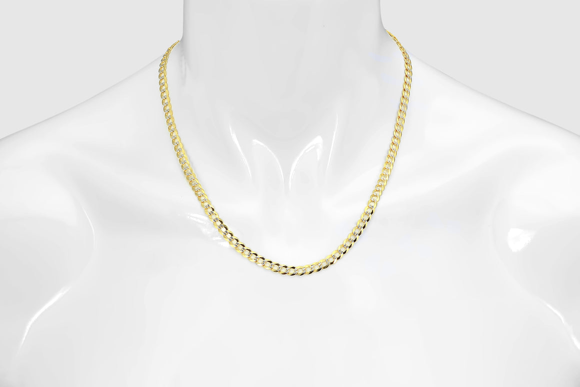 White Pave Cuban Curb Chain 14K Yellow Gold