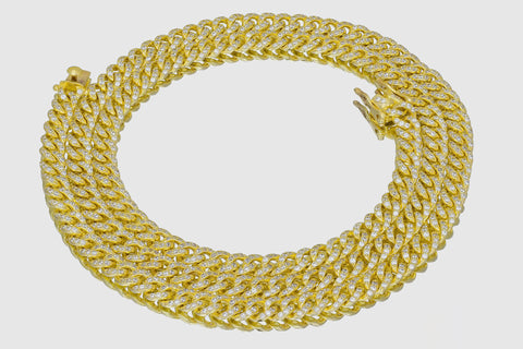 7mm 14K Solid Gold Cubic Zirconia Miami Cuban Necklace