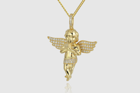 Diamond Micro Angel Piece Yellow Gold Pendant