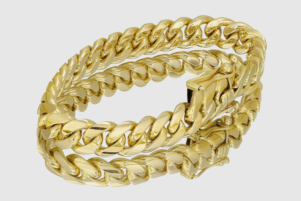 10mm Miami Cuban Bracelet Solid Yellow Gold