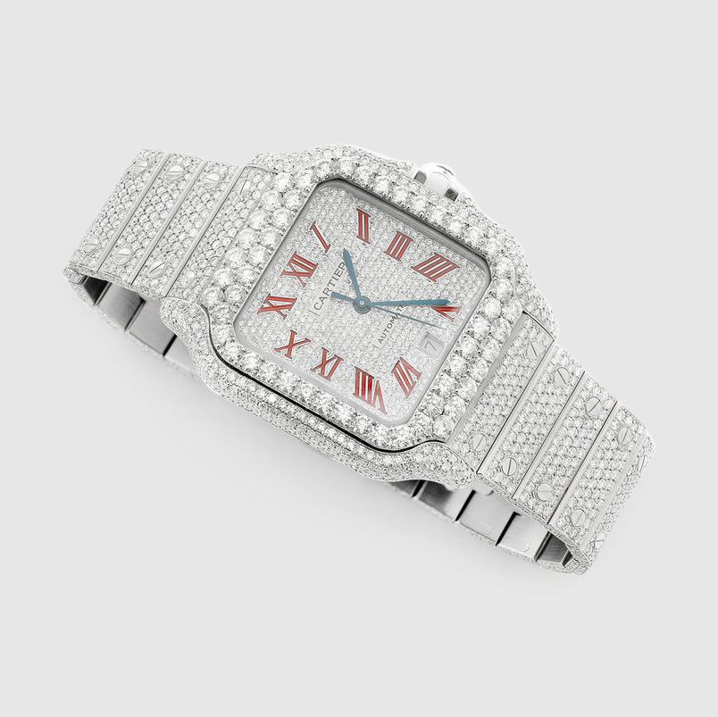 Iced Out Santos de Cartier 40mm Stainless Steel Red Dial Watch