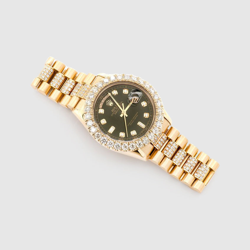 Diamond Rolex Presidential DayDate 36mm 18k Yellow Gold Black Dial Watch