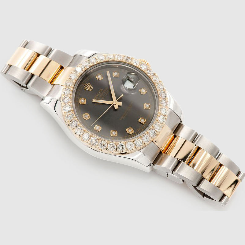Diamond Rolex DateJust 41mm Two-Tone Black Dial Watch