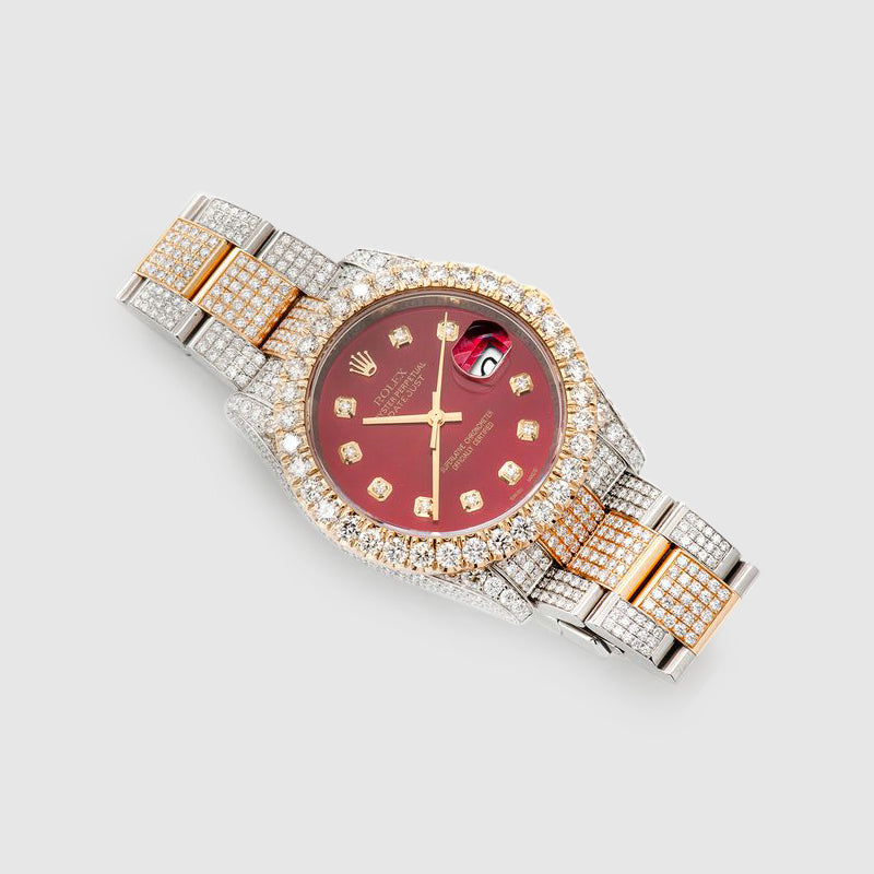 Rolex DateJust 36mm Diamond Two-Tone Red Dial Watch