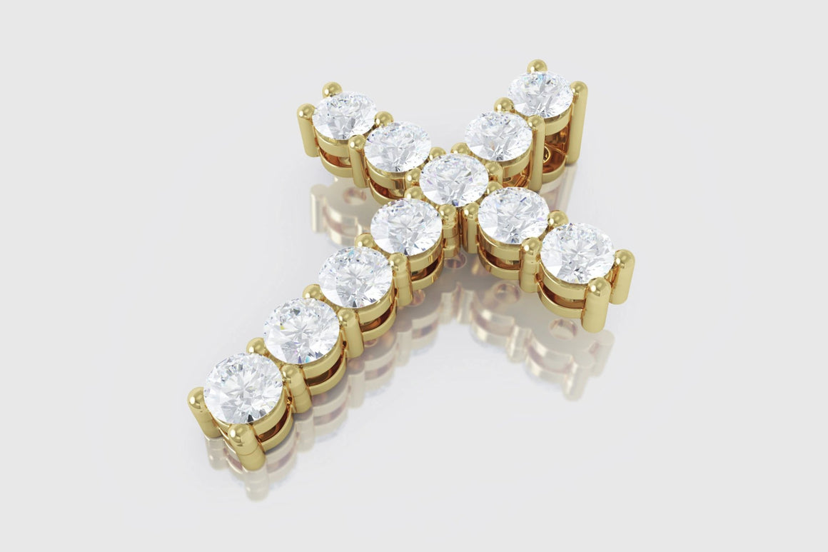 1 Row 35 Pointers Diamond Cross Yellow Gold