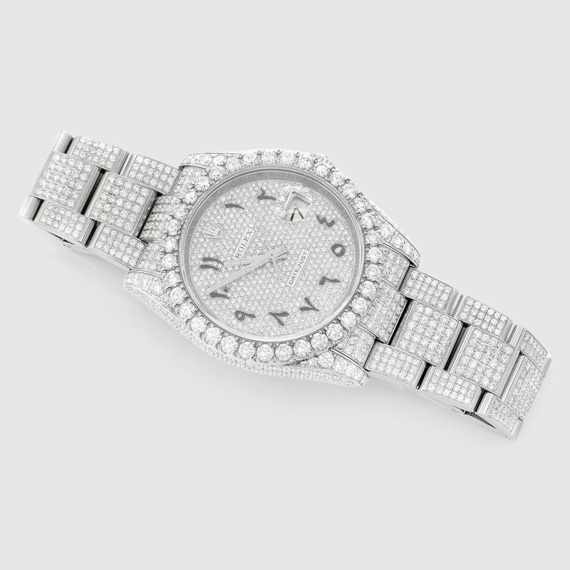Diamond Rolex DateJust 36mm Stainless Steel Arabic Dial Watch