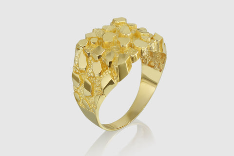 Large Nugget Solid Yellow Gold Diamond Ring