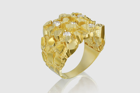 Large Nugget Solid Gold Diamond Ring