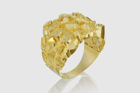 Large Nugget Solid Gold Ring