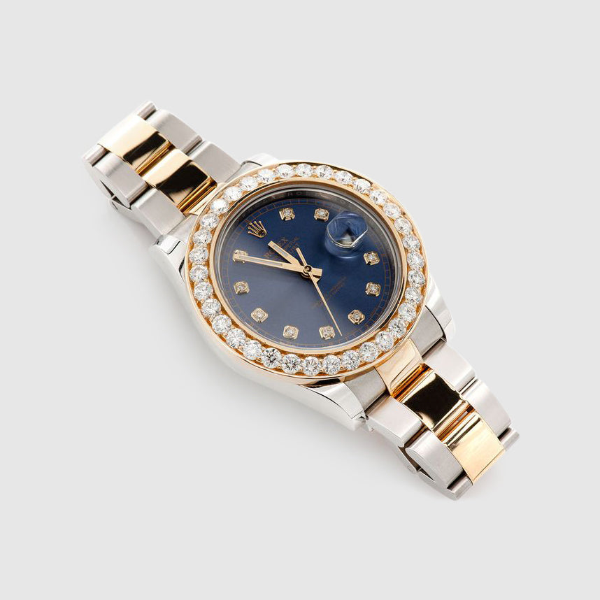 Diamond Rolex DateJust 41mm Two-Tone Dark-Blue Dial Watch