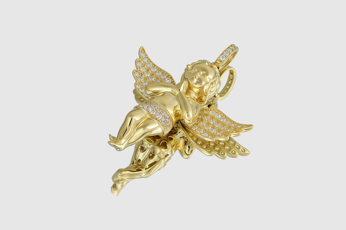 Micro Angel Diamond Pendant Yellow Gold