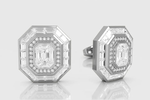 Diamond Baguette Invisible Setting Cufflinks Yellow Gold